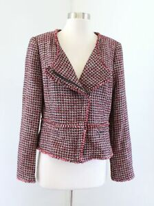 White House Black Market Red Tweed Fringe Moto Style Blazer Jacket Size 6 Wool