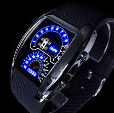 Digital Uhr Herrenuhr Armbanduhr blaue Led Tacho Optik Blaues Licht Schwarz 10
