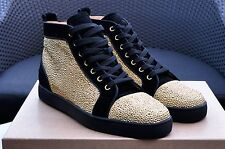 CHRISTIAN LOUBOUTIN 3295$ Authentic New Suede Gold Strass Louis High Top Sneaker