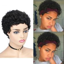 Women's Short Curly Wig w/Bangs Pixie Cut 150% Density Black Synthetic Hair US