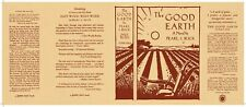 Facsimile Dust Jacket ONLY The Good Earth Pearl S. Buck 1st Edition 1931
