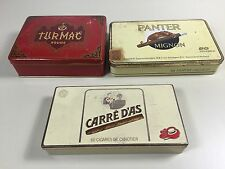 3 BOITES CIGARE CIGARETTE METAL  TOBACCO  ANCIEN PACK TABAC VINTAGE