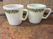 """Two Crazy Daisy Pyrex coffee mugs # 1410 nice condition 3 1/2"""""""