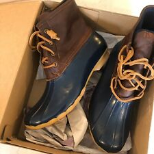 SPERRY Womens Saltwater Duck Boot Tan/Navy Style STS91175 10M