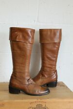 BROWN LEATHER RIDING STYLE BOOTS SIZE 4 / 37 FREEFLEX ROCHA JOHN ROCHA USED CON