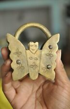 Brass Handcrafted Unique Butterfly Shape Floral Engraved Screw Padlock