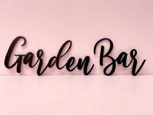 Garden Bar Wall Door Sign Wood Laser Cut mdf Craft Blank Calligraphy Text