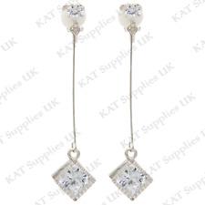 CLIP ON Earrings Silver Non Pierced Ear Studs Womens Jewellery Ear Triangle #104
