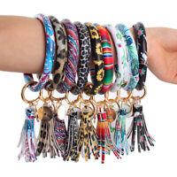 Bangle Tassel Pendant O-ring Bracelet PU Leather Key Ring Wristlet Keychains