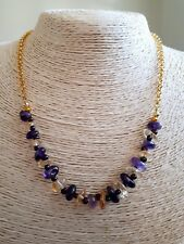"Ladies Necklace Amethyst & Citrine gems 17.7"" Gold Plated New FQli Handmade"