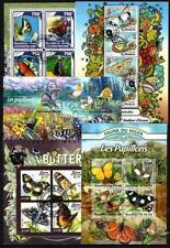 Papillons lot de 10 séries oblitérés en feuillet
