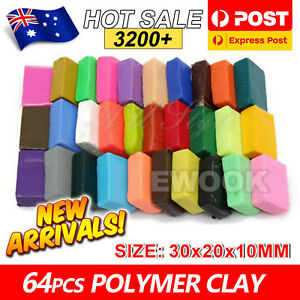 64PCS Craft Oven Bake Polymer Clay Modelling Moulding Fimo Block DIY Toy