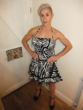 RAW ~ ANIMAL ZEBRA PRINT WITH BLACK LACE & STRETCH TOP PARTY DRESS ~ UK 8 IN VGC