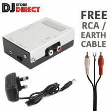 More details for turntable pre-amp mm phono pre amplifier stereo aux line level + rca earth lead