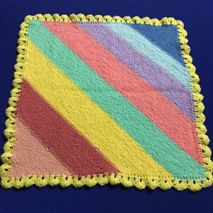 Handmade Knitted Acrylic Baby Capsule Blanket 60x60cm Yellow Multicoloured