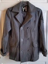 """LADIES GRAY GUESS PEACOAT MILITARY """"GUESS"""" EMBROIDERED WINGS ON SLEEVE SZ P/SM"""