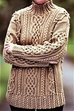 Turtle Neck Chunky Cabled Ladies Sweater Jumper Knitting Pattern 32-40 Inch