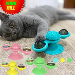 Cat Turning Windmill Toy Turning Tickle Rotatable Hair Brush Teeth Cleaning Tool