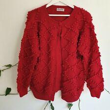 Vtg 70s Dark Red Pom-Pom Geometric Cardigan M-L Chunky Knit WoolRich Boho Jumper
