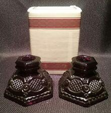 Avon 1876 Cape Cod Ruby Set of 2 Crystal 2 3/4� Candlesticks