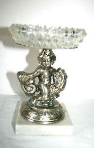 VTG HOMCO Heavyweight Pewter Angel Cherub Boy Glass Soap Dish Marble Pedestal