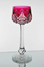 Baccarat Colbert Cranberry Rose Red Cut to Clear Crystal Wine Goblet Signed