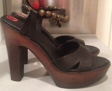 Ugg Naima Sandals Wood High Heel Leather Platform Beads Wedge Black 10 New