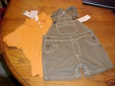 NEW boys LANDS END overalls shorts set 6 m polo shirt