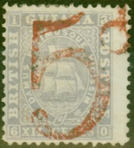 British Guiana 1860 5d in Red on 12c Lilac Postage Payable by Colony to Great...
