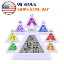 7LED Changing Color Digital Pyramid Shape LCD Alarm Clock Weather Thermometer US