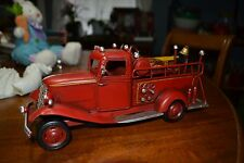 ~ METAL FOOT LONG FIRE ENGINE MODEL RUSTIC VINTAGE REPLICA HAND PAINTED MANCAVE