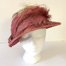 Vintage 1920s Ladies Dusty Pink Cloche Hat Feathers Artificial Flowers Flapper