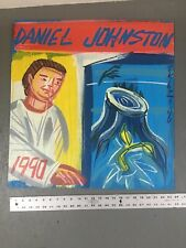 STEVE KEENE DANIEL JOHNSTON ALBUM COVER OVERSIZED PAINTING - 1990 LP