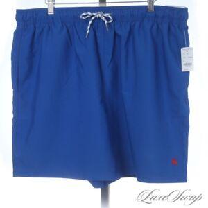 NWT Brooks Brothers Royal Electric Blue Microfiber Swim Trunks Bathing Suit XL