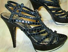 ❤️ BCBG PARIS Sexy Strappy 6.5B Open Toe Black High Heel Stiletto Zipper shoes