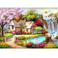 5D DIY Full Drill Diamond Painting Cross Stitch Garden Cottage Embroidery Mural