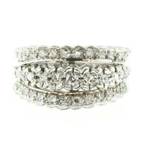 4ct Round Cut Diamond Antique Floral 3 Row Wedding Ring Band 14k White Gold Over