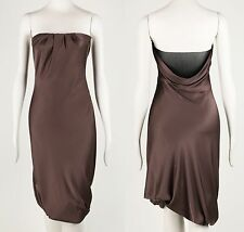 GUCCI TAUPE SILK STRAPLESS COWL BACK BUBBLE COCKTAIL EVENING DRESS SZ 40