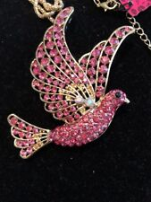 Betsey Johnson Necklace Pink Dove Holy Spirit Bird Gold Crystals Gift Box