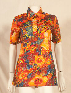 60'S FRENCH VINTAGE PRINT PARTY TUNIC UK 10 / FR 38