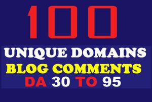 100 Unique Domains Blog Comments backlinks on DA 30 to 90 SEO Marketing Adult