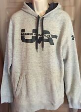 Under Armor Gray Fleece Long Sleeve Pullover Hoodie Black Letters Size XL