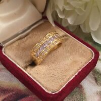 Vintage Jewellery Gold Band Ring with White Sapphires Antique Art Deco Jewelry R