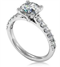 1.30 Ct Round Cut Solitaire Diamond Engagement Ring 14K Real White Gold Size 6