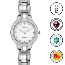 New Citizen Eco-Drive Silhouette Ladies Watch Silver SS Crystal Bezel EX1360-50A