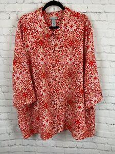 CATHERINES linen cotton button down white red kimono sleeve shirt top size 5X