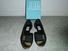 Jildor Andee Black Fabric Flat Shoes Size 9W