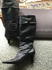 ~ PRINCIPLES LADIES LEATHER BOOTS ~ Ladies Size 6  BLACK LEATHER BOOTS WOMENS
