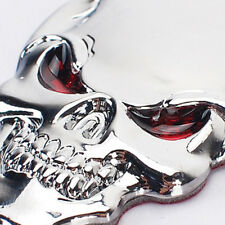 New 3D Metal Skull Bone Red Eyes Auto Car Decor Emblem Badge Sticker Motorcycle