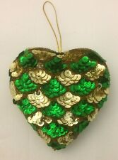 Gold & Green Sequined Heart Christmas Ornament w Beautiful Scale Sequins Pattern